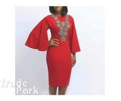 Butterfly Sleeve Dress - Red