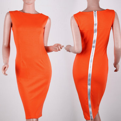 Back Zipper Dress - Orange